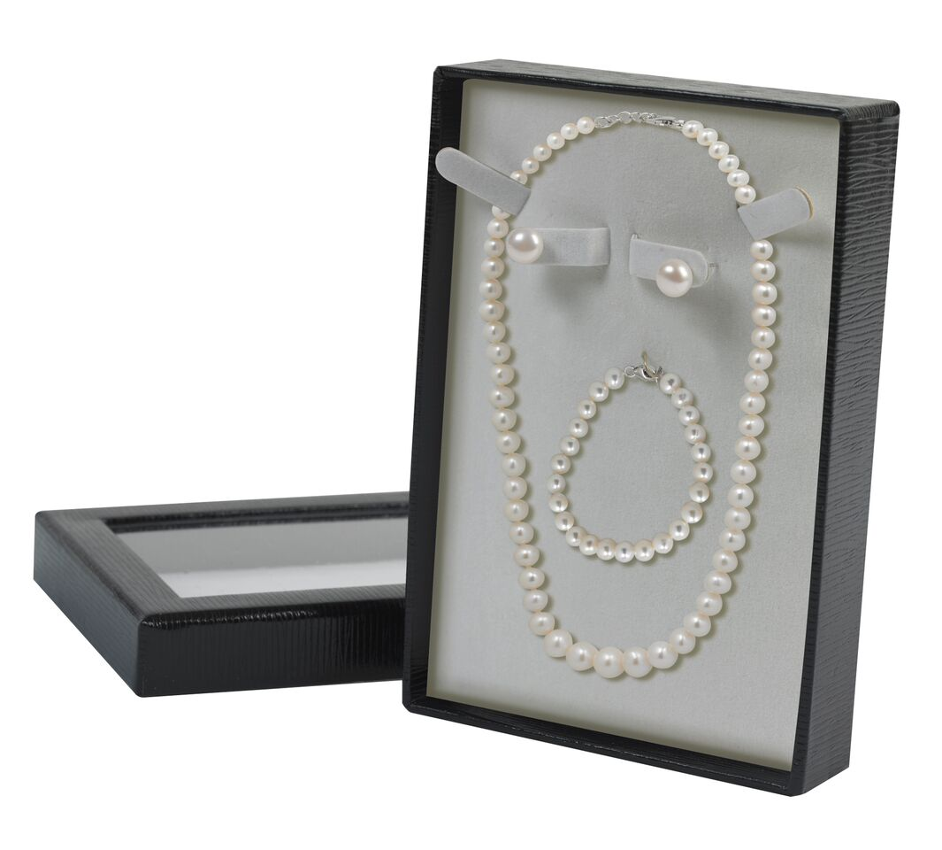 Freshwater Pearl Necklace, Bracelet & Earrings Box Set in Sterling Silver