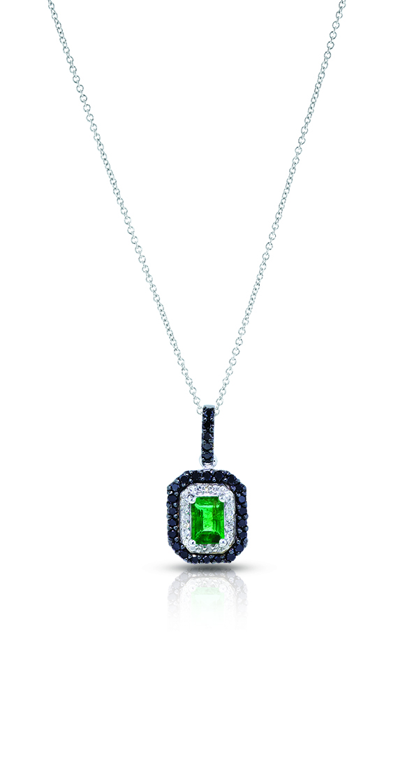 14K White Gold Emerald & Black & White Diamond Pendant