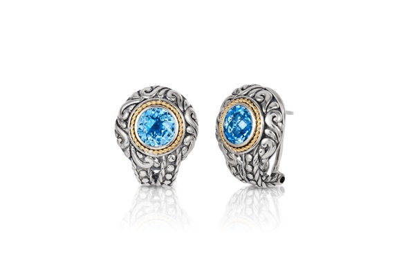 Sterling Silver with 18K Gold  Blue Topaz Earrings