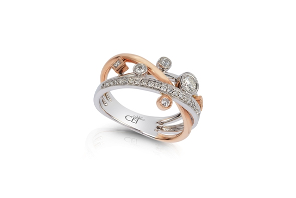 14K Rose & White Gold Diamond Ring