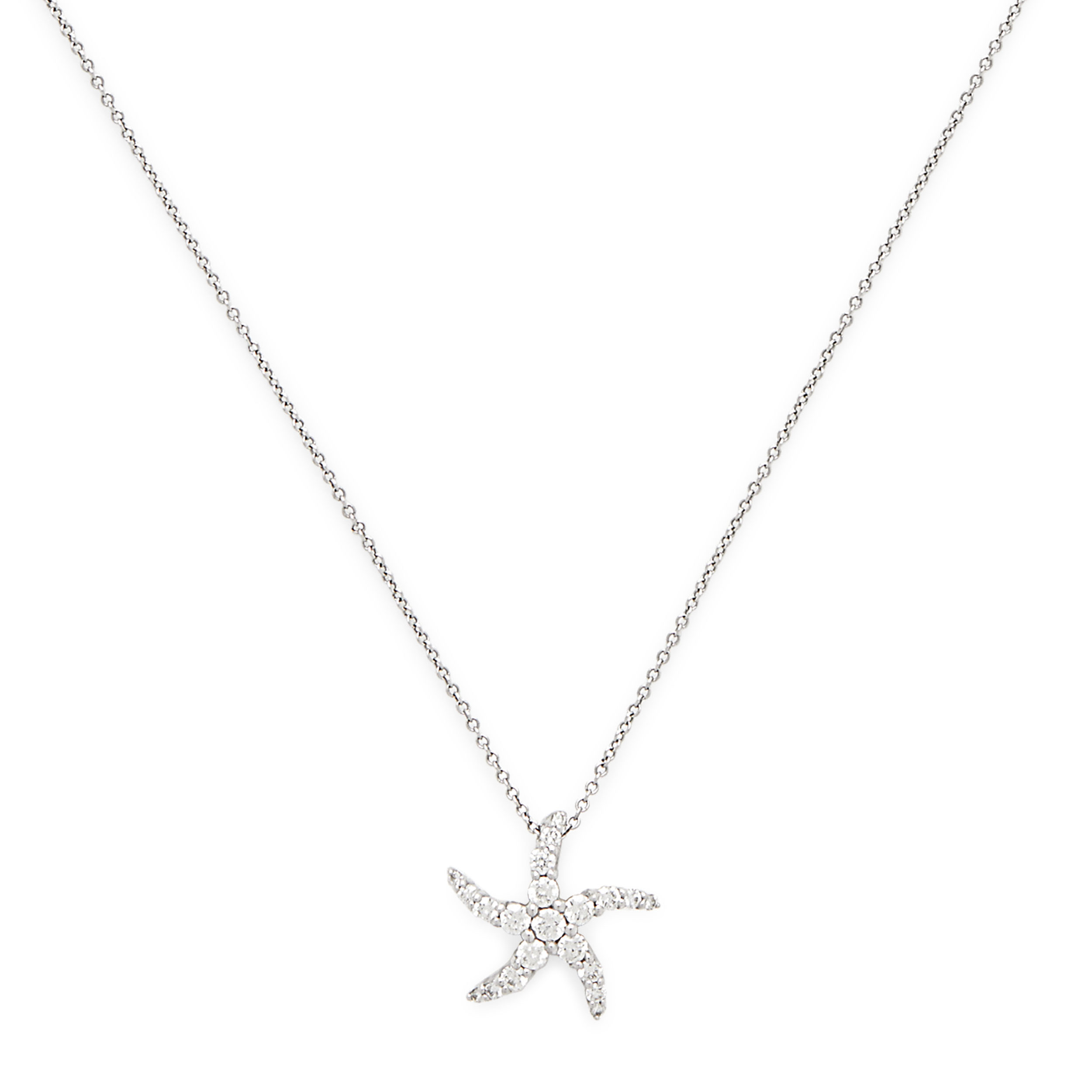 14K White Gold Starfish Pendant