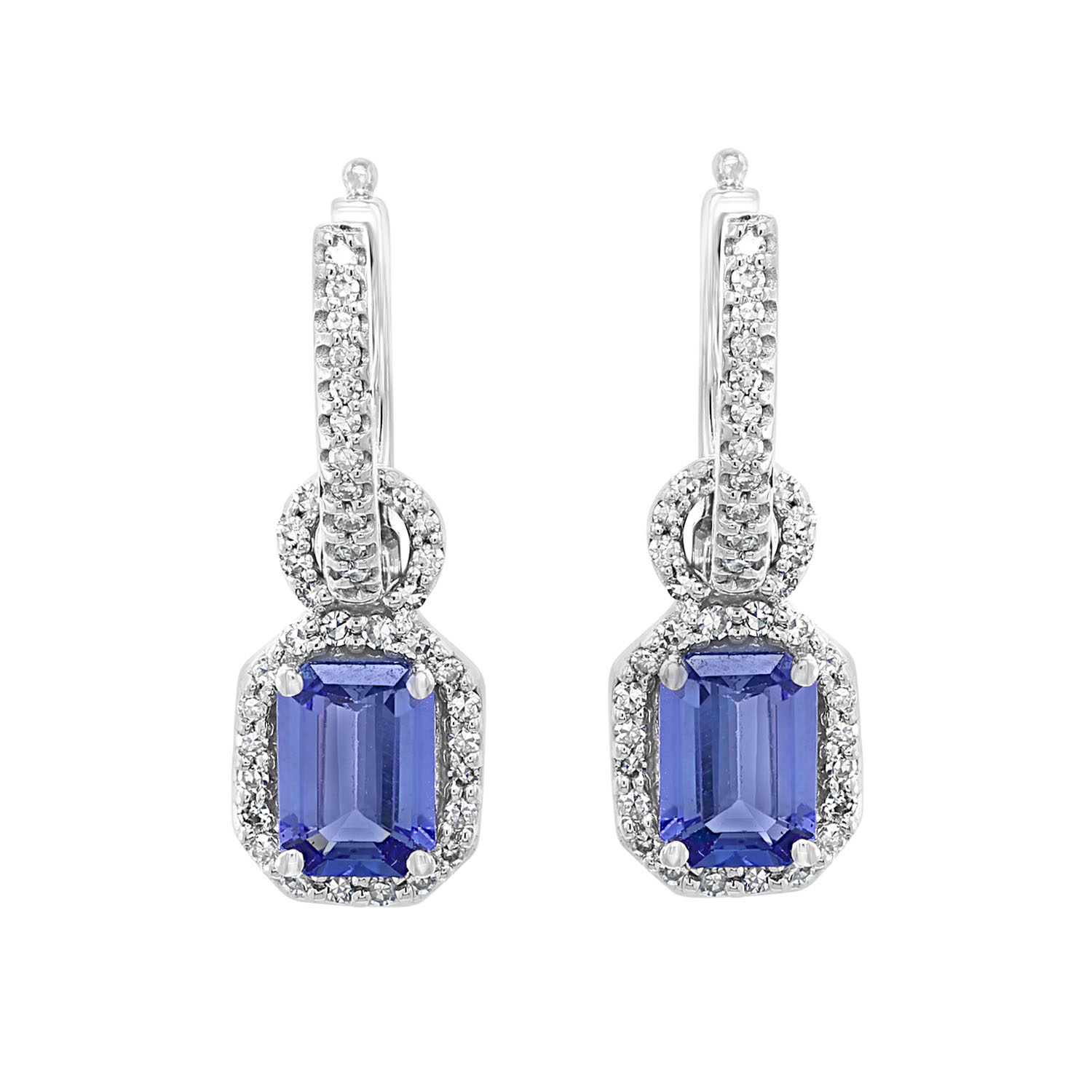 14K White Gold Tanzanite & Diamond Earrings