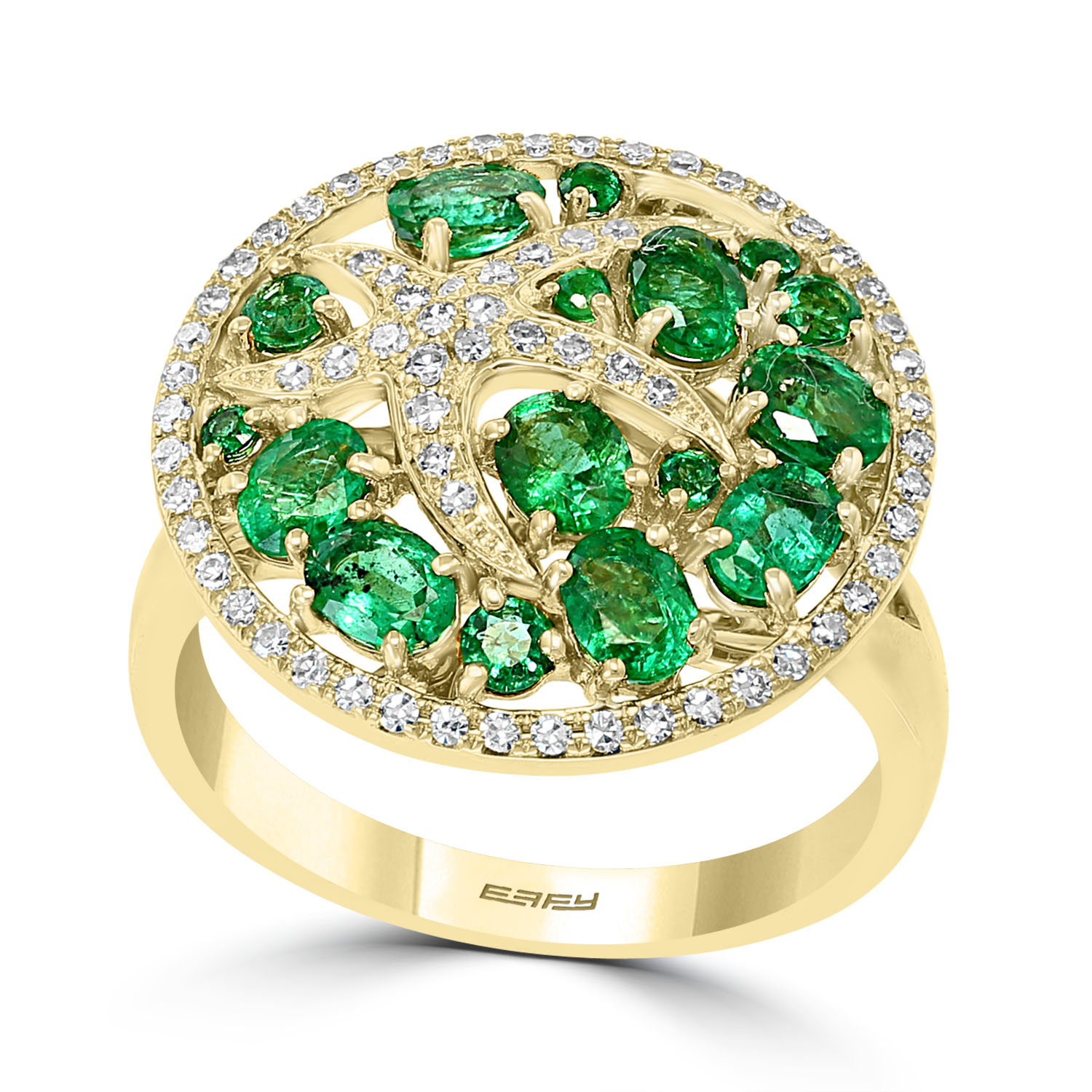 14K Yellow Gold Emerald & Diamond Ring