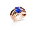 14K Rose Gold  Tanzanite & Cognac Diamond Ring