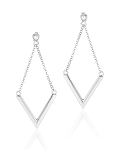 Sterling Silver V Shape Earrings