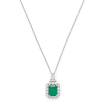 14K White Gold Emerald & Diamond Pendant