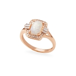 14K Rose Gold, Opal & Diamond Ring