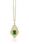 14K YELLOW GOLD DIAMOND,EMERALD PENDANT
